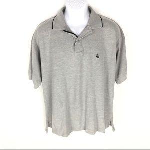 Nautica Gray Cotton Short Sleeve Polo L Large Mens